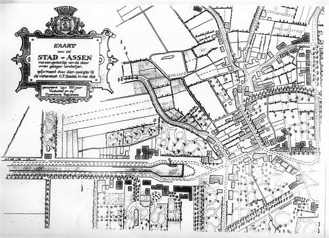 Kaart van Assen uit 1825. Klik voor een vergroting.